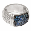 Phillip Gavriel Rectangular Top Silver Popcorn Ring with Blue Sapphires