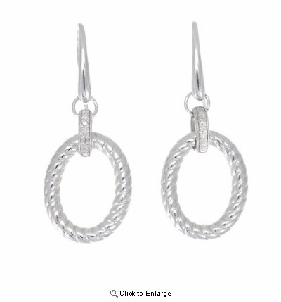 Phillip Gavriel Silver Oval Drop Earrings