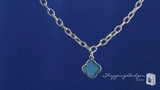 Phillip Gavriel Turquoise Clover Pendant Necklace in Sterling Silver