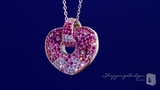 Pink & White Crystal Heart in Sterling Silver, 18""