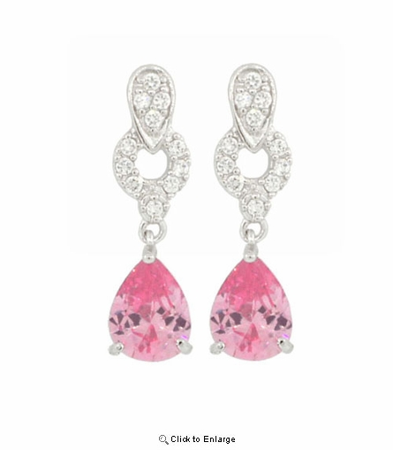 Pink Zirconia Pear Cut Drop Earrings
