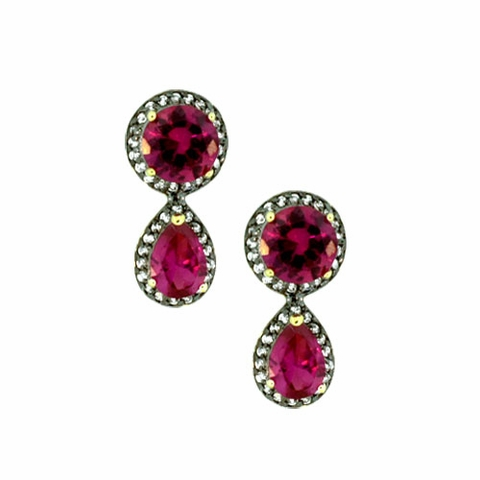 Pink Zirconia Silver Art Deco Earrings