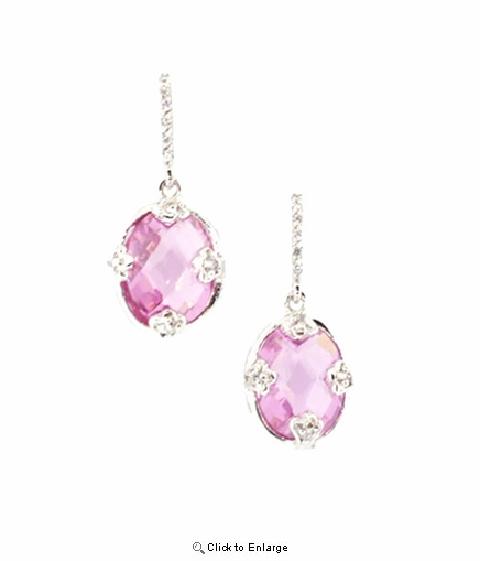 Pink Zirconia Silver Drop Earrings