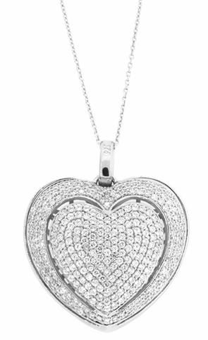 Pretty Micro-Pave CZ Heart Necklace in Sterling Silver, 18