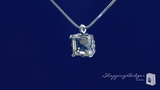 Phillip Gavriel Princess Cut Green Amethyst Solitaire Pendant Necklace in Sterling Silver