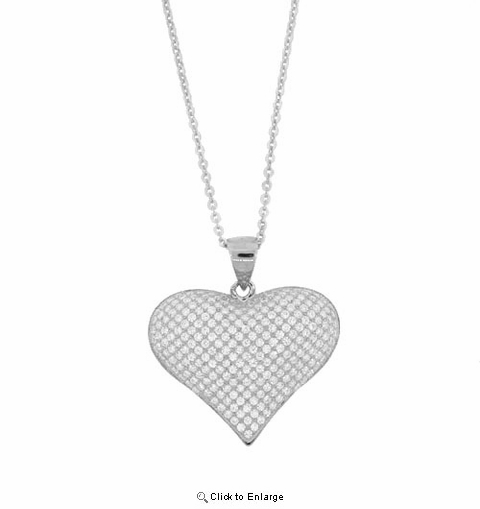 Puffed Pave CZ Heart Pendant Necklace in Sterling Silver, 16""
