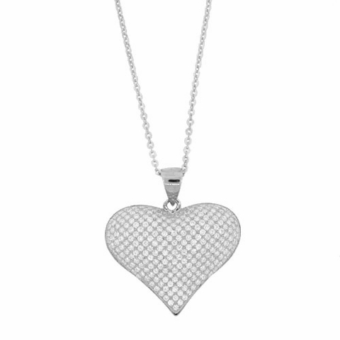 Puffed Pave CZ Heart Pendant Necklace in Sterling Silver, 16 inch - Free Shipping | ShoppingBadger.com