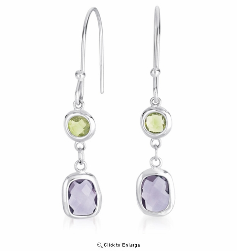 Purple and Green CZ Euro-Style Earrings