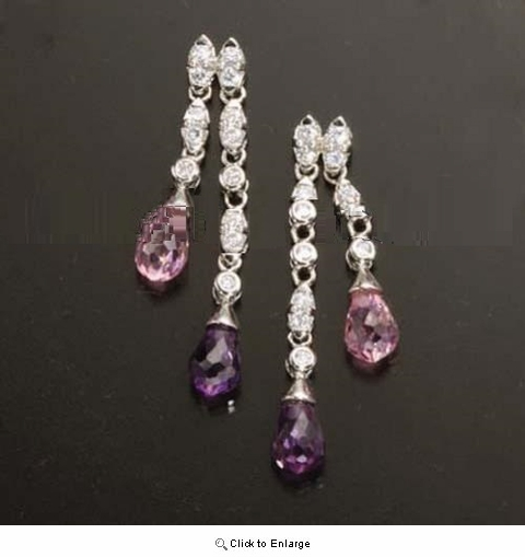 Purple and White Zirconia Dangling Earrings