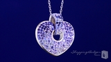 Purple, Pink & White Crystal Heart in Sterling Silver, 18""