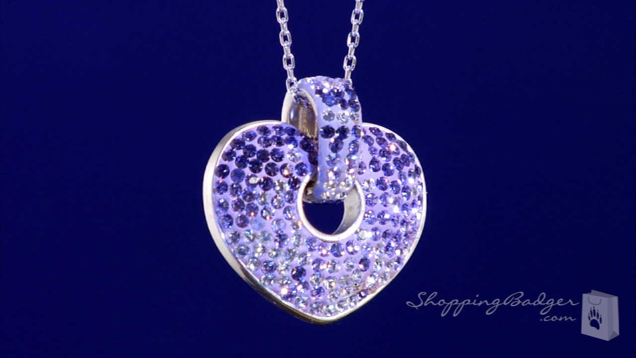 Purple Pink Amp White Crystal Heart Necklace In Sterling