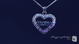 "Purple & White Crystal Mom Open Heart Necklace in Sterling Silver, 16""-20"""