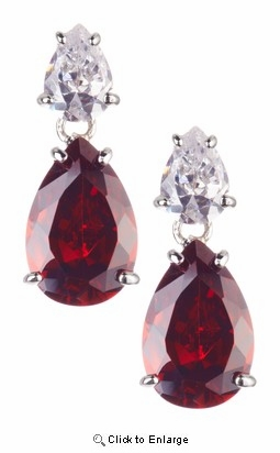 Red and White Zirconia Silver Earrings