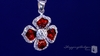 Red Enamel & Clear Crystal Flower Sterling Silver Necklace