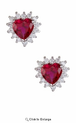 Red Zirconia Silver Heart Earrings