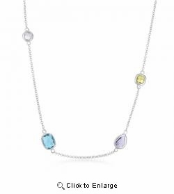 Rock Candy Mini Multi-Shape Multi-Color Silver Necklace