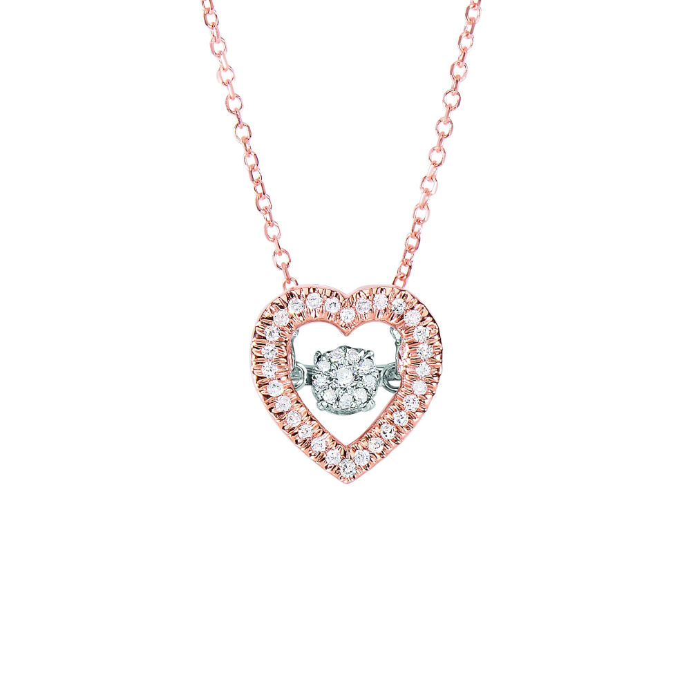 Rose gold dancing diamond heart necklace aloadofball Image collections