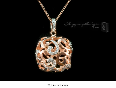 "Rose Gold-Plated Silver Designer Pendant with CZs, 18"" chain"