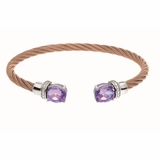Montreaux Rose Gold Plated Stainless Steel and Silver Cuff Bangle Oval Amethyst and Diamond