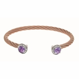 Montreaux Rose Gold Plated Stainless Steel and Silver Cuff Bangle with Amethyst and Diamond
