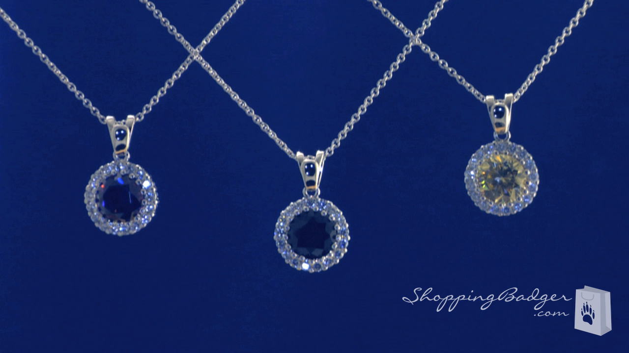 Round Colored Solitaire Cz Pendant Necklace In Sterling