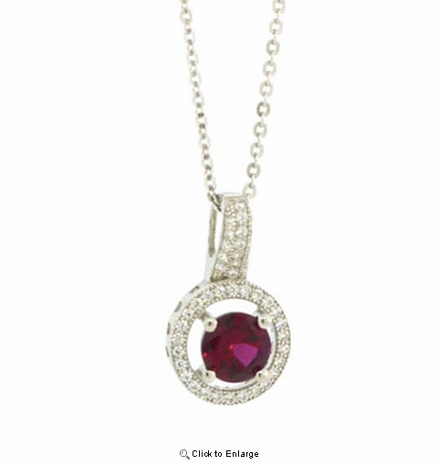 Round Cut Red Zirconia Silver Pendant
