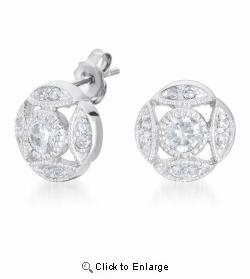 Round Cut Sparkling CZ Art Deco Sterling Silver Earrings