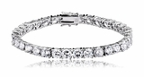 Round CZ Channel-Set Silver Tennis Bracelet