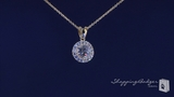 "Round Solitaire CZ 14K Gold Plated Sterling Silver Necklace, Adjustable 16""-18"""