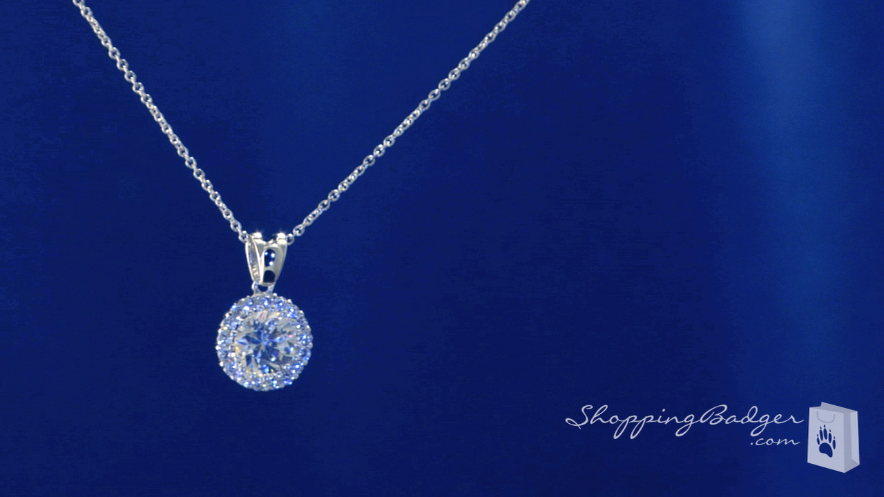 Round Solitaire Cz Necklace In Sterling Silver Adjustable