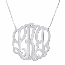 Script Three Initial Silver Monogram Necklace, 1.25 inch