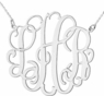 Script Three Initial Silver Monogram Necklace, 1.75 inch