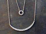 Silver and CZ Curved Bar and Circle Necklace