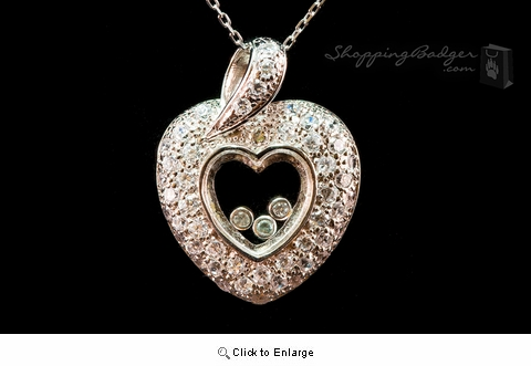 Silver and CZ Heart with Floating CZs