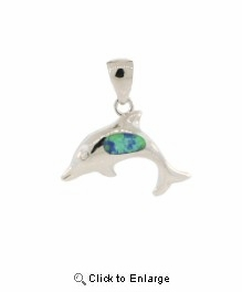 Silver and Turquoise Dolphin Necklace
