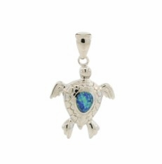 Silver and Turquoise Sea Turtle Necklace