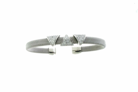 Silver Bangle with Pave CZ Triangles