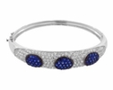 Silver Blue and White Zirconia Bangle