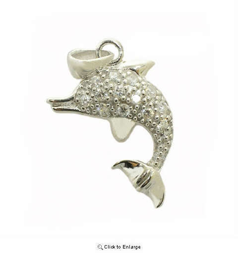 Silver CZ Dolphin Necklace