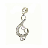 Silver CZ G-cleff Necklace