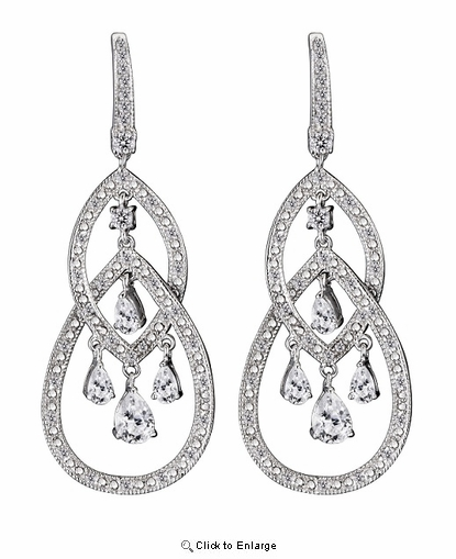 Silver CZ Long Chandelier Earring