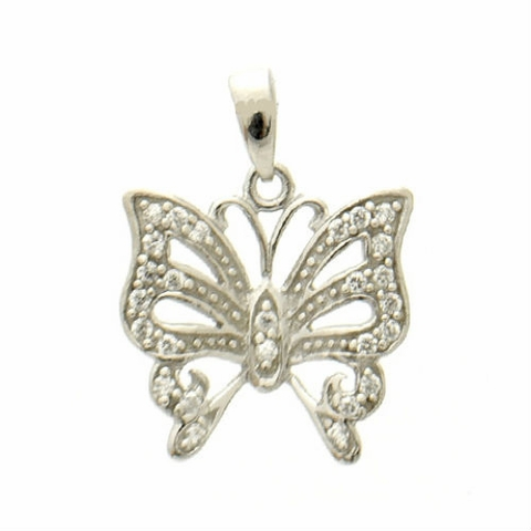 Silver CZ Victorian Butterfly Necklace