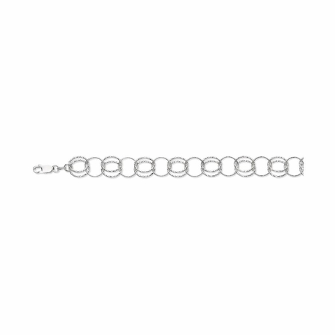 Silver Diamond Cut Alternate Double and Single Round Link Fancy Bracelet