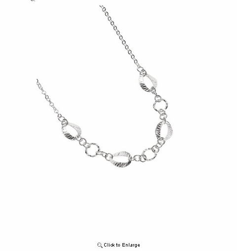 Silver Diamond Cut Round and Oval Chain Link Fancy Necklace