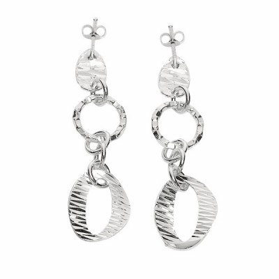 Silver Diamond Cut Textured Fancy Drop Earring