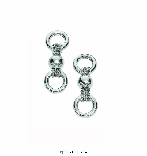 Silver Diamond Cut Three Row Bead Link Earring