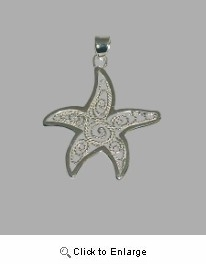 Silver Filigree Starfish Necklace