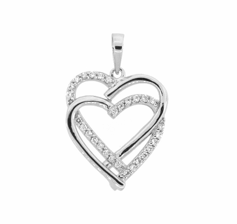 Silver Heart and CZ Heart Pendant