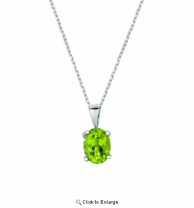 Silver Peridot Solitaire Necklace