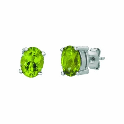 Silver Peridot Stud Earrings